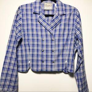 Wrangler Western Wear Tartan Plaid Cropped Jacket